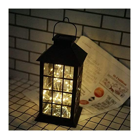 Solar Outdoor Lantern, Waterproof Hanging Solar Lantern with 30 LED Fairy Copper String Lights for Patio, Garden, Lawn, Pathway (Warm White) - CLASSIC DESIGN: Simple and elegant black frame rectangle shape with 30 LED warm fairy string lights, create a unique retro romance. SAFE LONG LIGHTING: Choosing the most popular string of lights inside the lantern instead of traditional candles, guarantees sufficient illumination without the danger of open flames. And after full charged, the solar lantern will automatically turn on at night and light up for 8 hours. PERFECT OUTDOOR DECOR: A movable hanging ring can be easily hung on anywhere, very suitable for your balcony, hallway, porch, courtyard, patio, garden, lawn. - patio, outdoor-lights, outdoor-decor - 51BANAtoghL. SS570  -