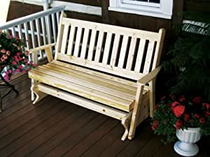 Outdoor 5 Foot Traditional English Porch Glider - STAINED- Amish Made USA -Cedar