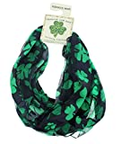 Satin Irish St. Patrick's Day Shamrock Clover Infinity Circle Scarf, Black/Green, One Size