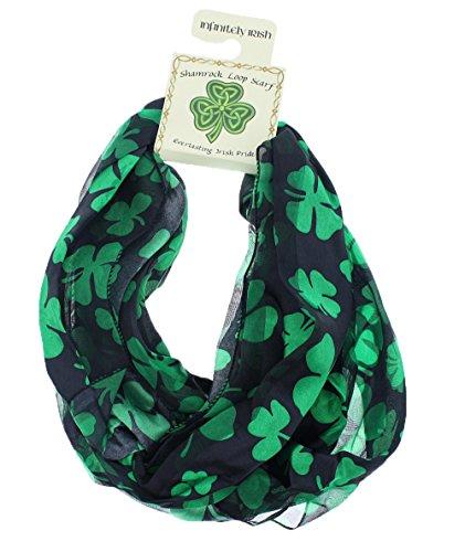 [Satin Irish St. Patrick's Day Shamrock Clover Infinity Circle Scarf, Black/Green, One Size] (St Patricks Day Shamrocks)