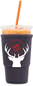 Java Sok Reusable Iced Coffee Cup Insulator Sleeve for Cold Beverages and Neoprene Holder for Starbucks Coffee, McDonalds, Dunkin Donuts, More (Purple Deer, 30-32oz Large)