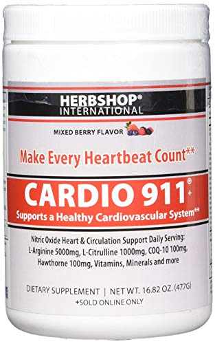 New Berry Flavor Cardio 911 - Heart Health - L Arginine 5000mg - L Citrulline 1000mg, 16.82 Ounce Powder, 30 Day Supply
