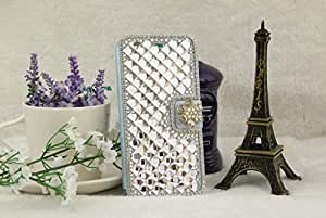 "iPhone 6 Plus Case 5.5 inch, Focuson(TM) Luxury Stand Bling Crystal Flip Leather Cover Case for iPhone 6 Plus 5.5""-Blue"