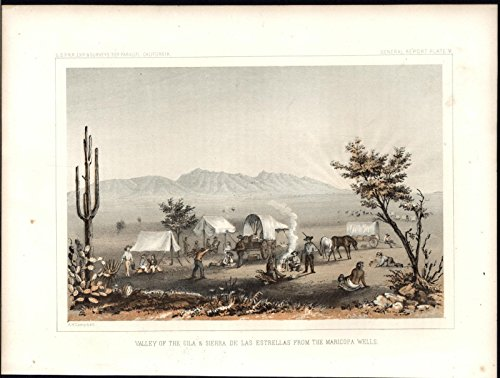 Valley of Gila Campground Native American 1857 antique color lithograph print