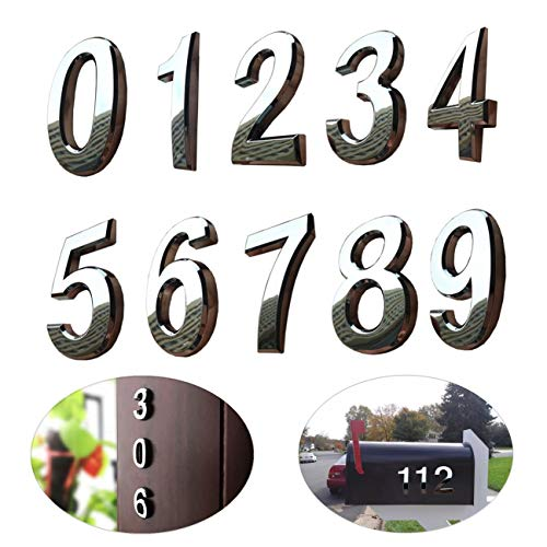 "10 Pcs Door Numbers 0-9, Address Number Stickers for Mailbox / Apartment, Silver Shining, Upgrade Model, 2.75 inch High (2.75"" 10 Pack 0 to 9, Silver)"
