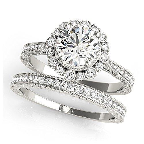 14K White Gold Unique Wedding Diamond Bridal Set Style MT51039