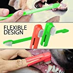 Dog Toothpaste and Toothbrush Set [REMOVES FOOD DEBRIS] Double Sided with Long Curved Handle [SUPER EASY CLEANING] - Best Soft Silicone Pet Toothbrush for Cats And Dogs [EXPANDABLE FINGER ENTRY] - Col 11