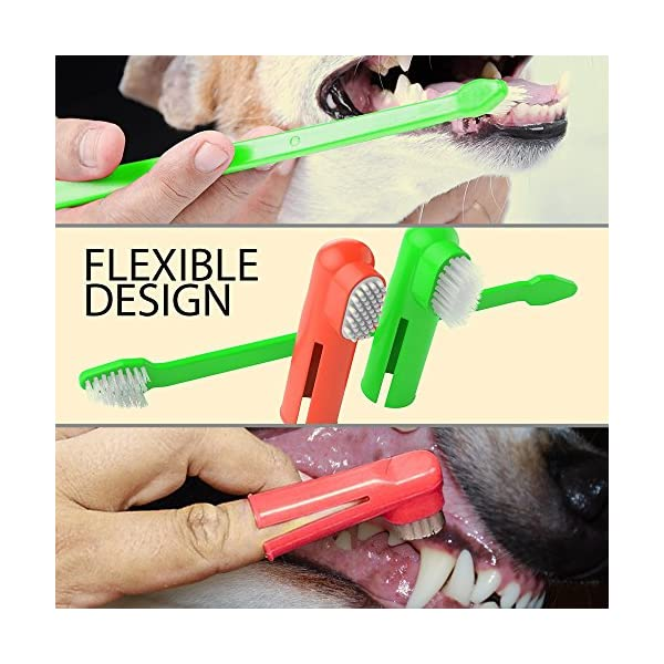 Dog Toothpaste and Toothbrush Set [REMOVES FOOD DEBRIS] Double Sided with Long Curved Handle [SUPER EASY CLEANING] - Best Soft Silicone Pet Toothbrush for Cats And Dogs [EXPANDABLE FINGER ENTRY] - Col 3