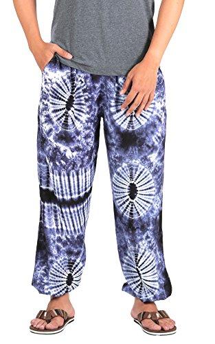 CandyHusky Men Tie Dye Elastic Waist Loose Fit Hippie Baggy Joggers Yoga Pants (S/M, Dark Blue)