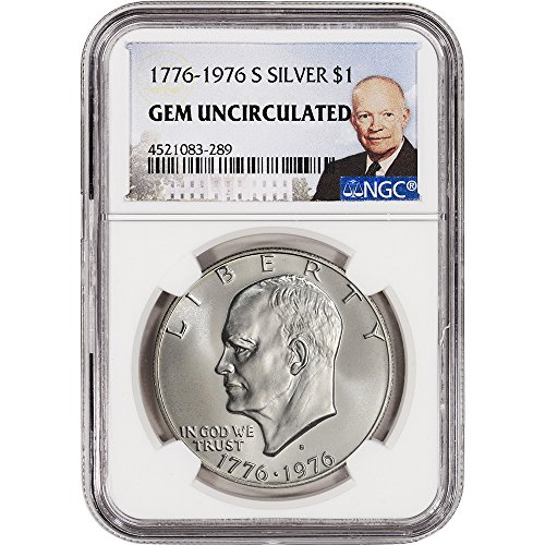 - 1776-1976-S US Eisenhower Silver Dollar $1 - NGC Gem Uncirculated