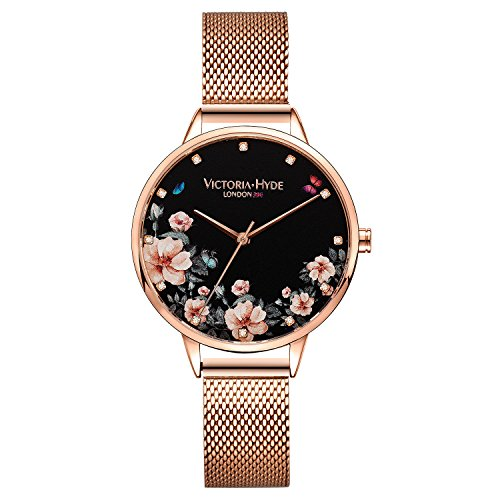 VICTORIA HYDE Rose Gold Women Analog Quartz Watch Floral Dial Stainless Steel Mesh Band Wristwatch for Ladies (Dial Floral Watch)