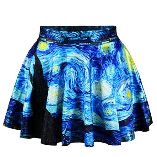 Alaroo Girls Van Gogh Oil Painting Starry Night Printed Flare Mini Skirt  Multi  One Size