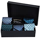 Men's Tie Set - 5 Luxury Neckties And 2 Classy Tie Bars In Gift Box By Pointed Designs (Set 1)