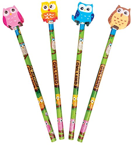 The Piggy Story 'Woodland Animals' Hoot Owl Set of 4 Pencils with Die-Cut Eraser Toppers