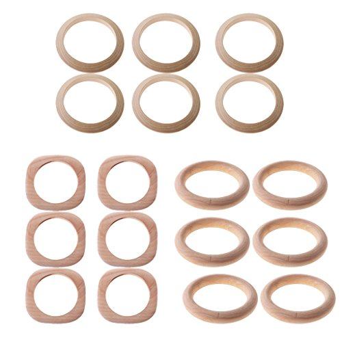 Dovewill 18 Pieces 3 Styles Unfinished Natural Unpainted Wood Wooden Bracelet Bangle DIY -