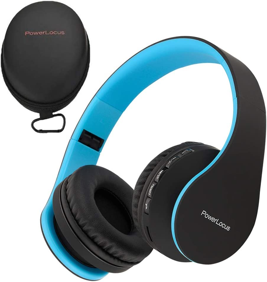 PowerLocus P1 – Auriculares Bluetooth inalambricos de Diadema Cascos Plegables, Casco Bluetooth con Sonido Estéreo con Conexión a Bluetooth Inalámbrico y Cable para Movil, PC, Tablet - Negro/Azul
