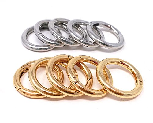 10k Snap Gold (Honbay 10pcs Gold and Silver Round Open Ring Snap Clip O Ring Trigger Spring Keyring Buckle)