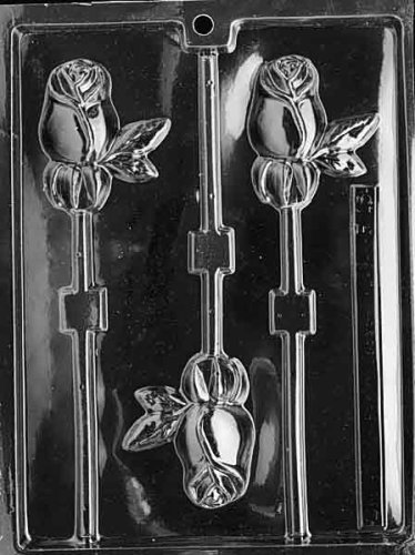 Cybrtrayd F015 Long Stem Rose Lolly Chocolate Candy Mold with Exclusive Cybrtrayd Copyrighted Chocolate Molding Instructions