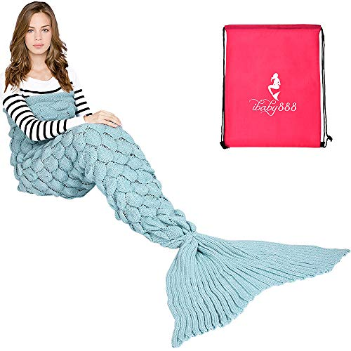 "Handmade Mermaid Tail Blanket Crochet , iBaby888 All Seasons Warm Knitted Bed Blankets Sofa Living Room Quilt for Adults, Fish-scales Pattern, 76.8"" x 35.5"" (195 x 90cm), Sky Blue from iBaby888"