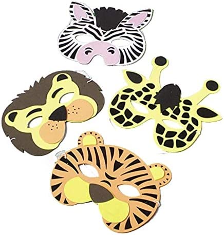 Stickers 72 Piece Zoo Animal Party Favor Set- Masks and Tattoos Figures