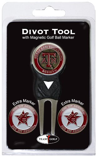 Team Golf NCAA Texas A&M Aggies Divot Tool with 3 Golf Ball Markers Pack, Markers are Removable Magnetic Double-Sided Enamel by Team Golf