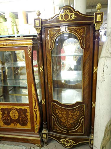 Gorgeous French Style Hand Carved Mahogany Wood Ormolu Accent Curio Cabinet - 77