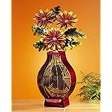 24 Exquisite Flower Bouquet in Vase Table Top Figure Fan