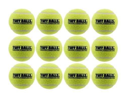 Dog Tennis Ball (12 Tuff Balls - Industrial Strength Dog Toys, Standard Size 2.5