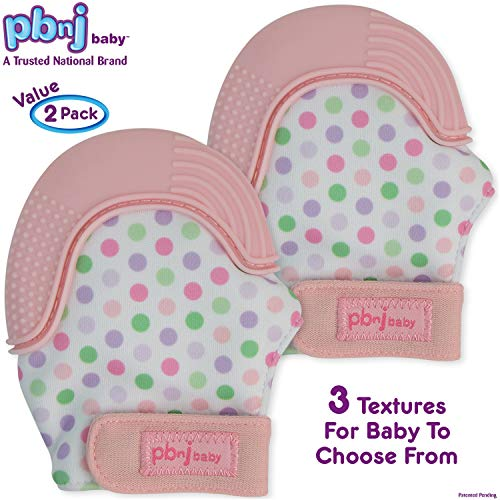 (PBnJ baby Silicone Infant Teething Mitten Teether Glove Mitt Toy with Travel Bag-Pink Dot)