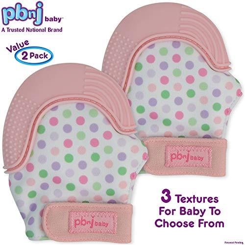 Dot Mitten - PBnJ baby Silicone Infant Teething Mitten Teether Glove Mitt Toy with Travel Bag-Pink Dot 2pk