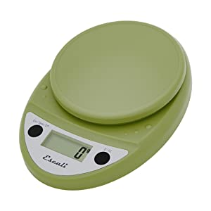 Escali Primo Digital Kitchen Scale (11 lb/ 5 kg Capacity) (0.05 oz/ 1 g Increment) Premium Food Scale for Baking and Cooking - Lightweight and Durable Design - Lifetime ltd. Warranty - Tarragon Green