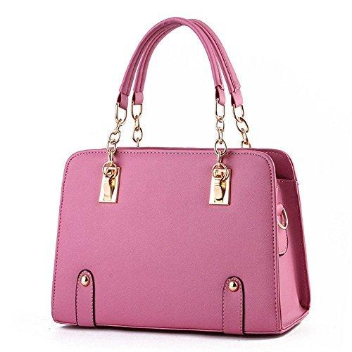 VINICIO Mature Womens Premium Leather Elegant Ornaments High-capacity Handbag(WaterPink)