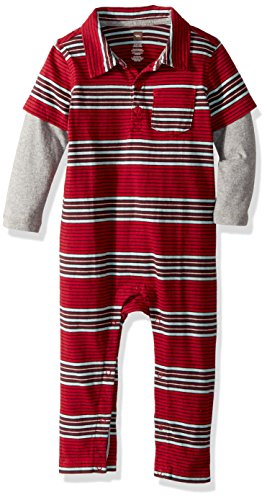 Tea Collection Boys' Boken Polo Romper, China Red, 6-9 Months Baby