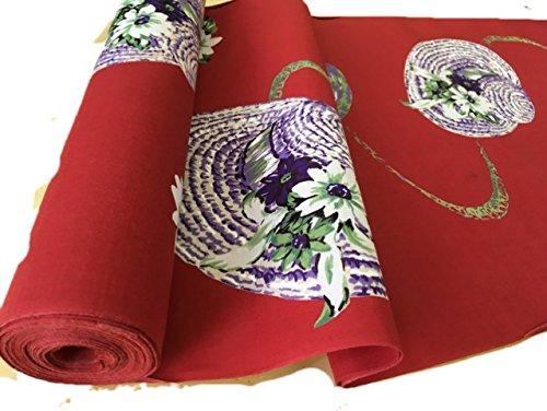 本染め浴衣 【反物】赤色 帽子柄 レディース ジュニア 教材用にも【アウトレット品】