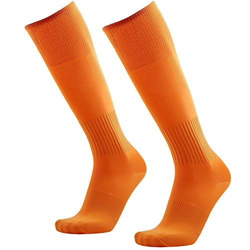Football Socks Men,3street Unisex Youth High Performance Athletic Over The Calf Solid Sport Soccer Volleyball Baseball Team Long Tube Compression Socks Orange 2 -
