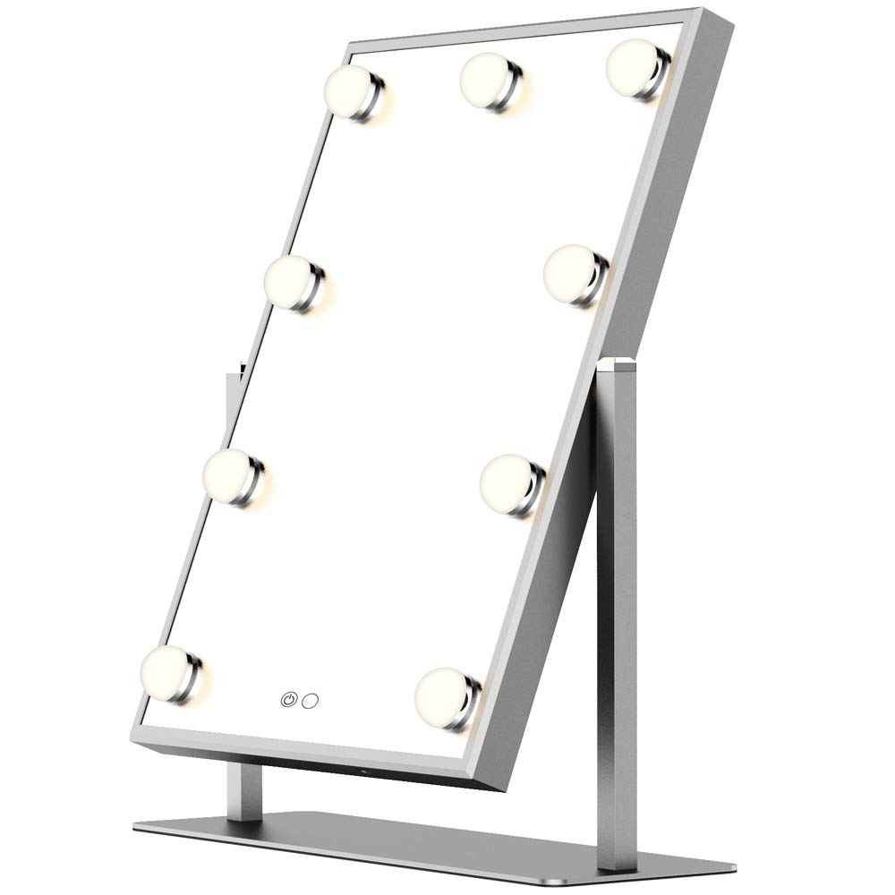 BEAUTME Hollywood Makeup Vanity Mirror,Hollywood Vanity Mirror with Light Table Tops Lighted Mirror with Dimmer, LED Illuminated Cosmetic Mirror with LED Dimmable Bulbs,Lighting Mirrors (Silver)