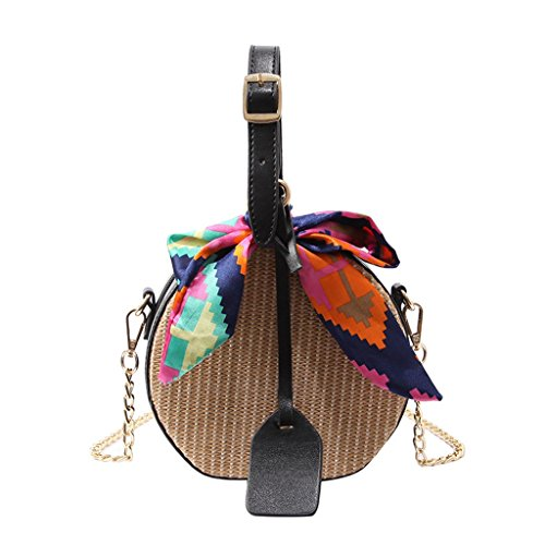 Liu Yu·casa creativa Bolso de Crossbody Bolso Femenino de la Bolsa de la Paja Bolso Redondo Portátil de la Playa de la Moda Bolso Diagonal versátil Simple del Hombro (Color : Brown) Black