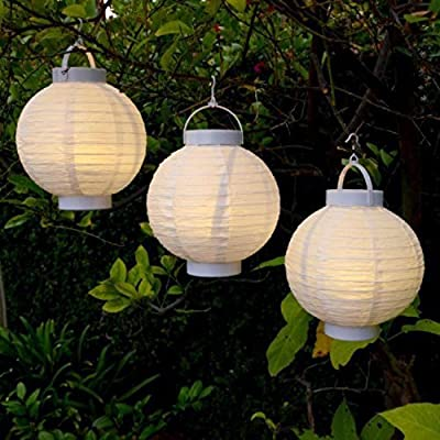 Set of 3 Battery Operated LED Lighted White Fabric Outdoor Garden Patio Chinese Lanterns 8""