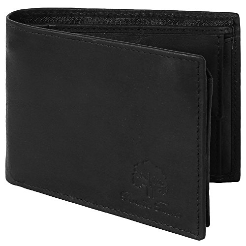 Handmade RFID Blocking Genuine Leather Bifold Zippered Wallets with Coin Pocket Designer Engraved Fashion with Card Pockets for Cash Bills By Rustic Town ~ Gift for Teen Boys Girls Men Women (Black1) (Coin Zippered Pocket)