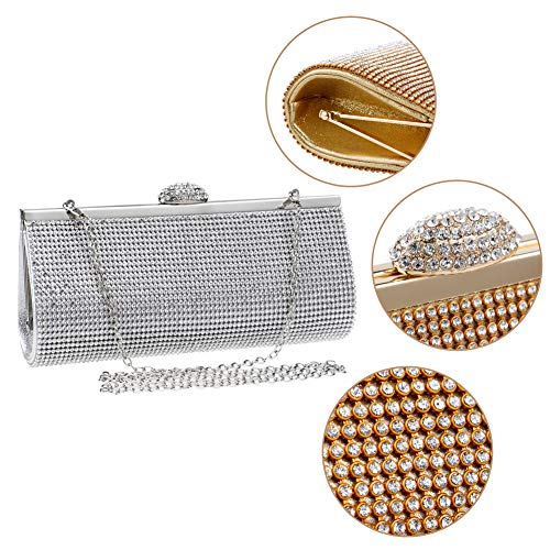 Bags Elegant Crystal Evening Party Clutches Chain Womens Silver Purse Handbags Wallet For 5T7w7vzq