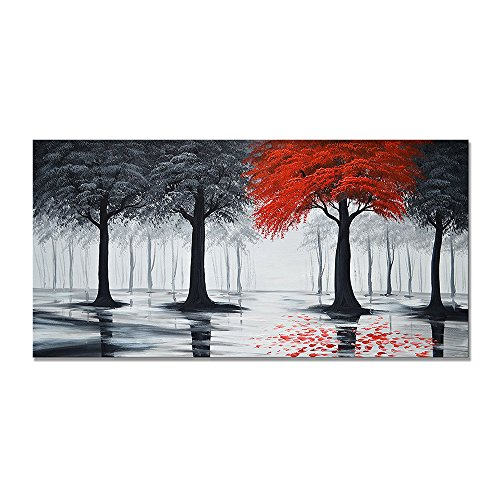 Hand Painted Modern Textured Forest Oil Painting on Canvas