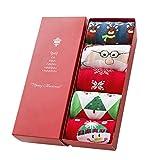 Cute Women Christmas Crew Socks Cartoon Warm Cotton Winter Long Socks 5 Pair/Set Xmas Gift