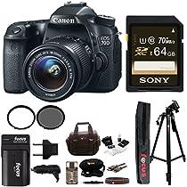 Canon EOS 70D SLR CMOS 20.2MP Digital Camera EFS 18-55mm Lens + 64GB Memory Card + Tiffen 58mm UV & CP Filters + Extra Battery + Accessory Kit