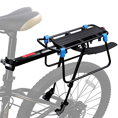 ICOCOPRO Bicycle Touring Carrier with Fender Broad,Frame-Mounted for Heavier Top & Side Loads Bike Cargo Rack Quick Release Height Adjustable Cycling Equipment – Black