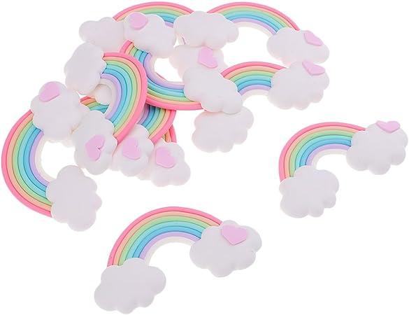 Homyl DIY Party Deko Regenbogen Kindergeburtstag Geburtstag Unique Supplies Rainbow Wolken Set 5 x 3,5 cm Stil 2