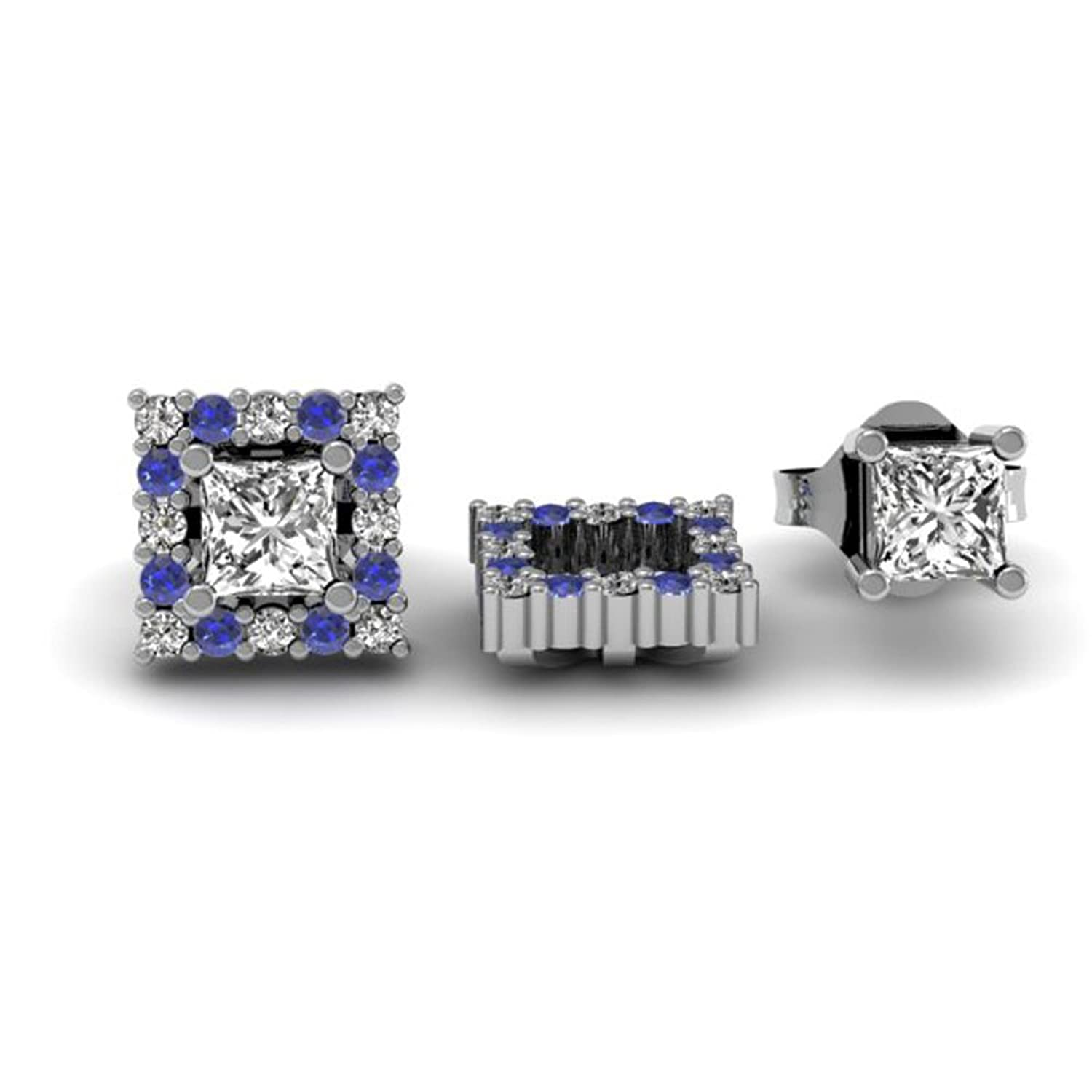 10K White Gold Square Shape Removable Jackets For Stud Earrings