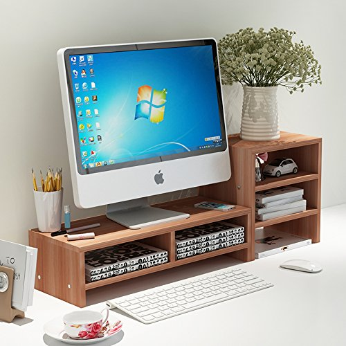 Met Life - Monitor Stand 2 Compartment Organizer Come With Portable Tall Side Stand | Natural