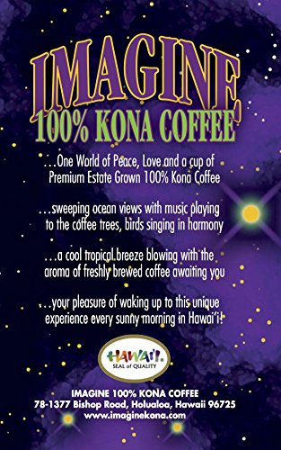 Kona Coffee Beans by Imagine - 100% Kona Hawaii - Medium Dark Roast Whole Bean - 8oz Bag