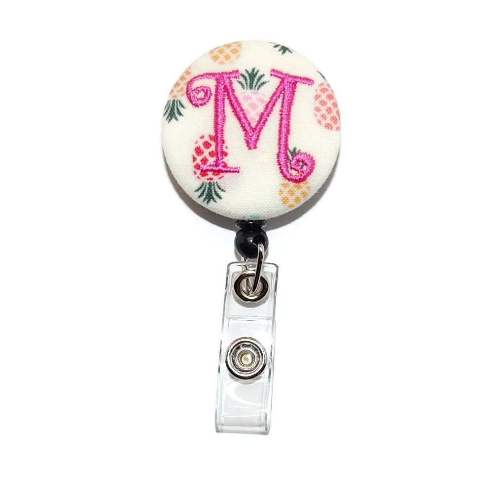 Pineapples with Your Choice of Pink Letter Badge Reel Retractable for ID or Key Card Free Shipping