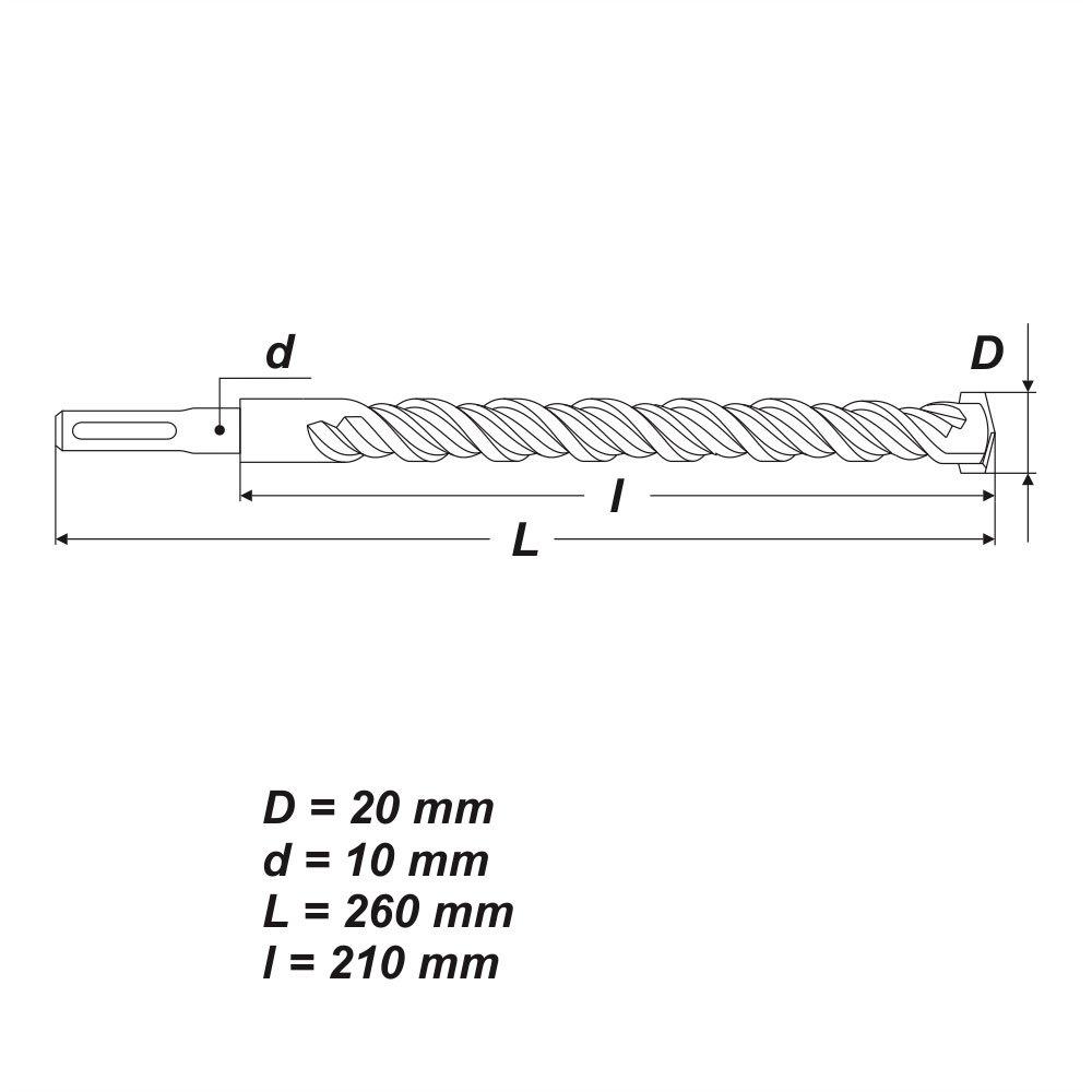 SDS Plus Ø 10 x 260 mm Betonbohrer Hammerbohrer Bohrer für Stein Mauerwerk Beton